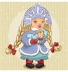 Snow Maiden in blue fur coat holds a lamb vector