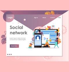 social network website landing page design vector image