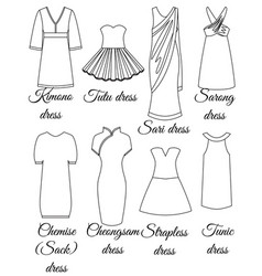 Styles of dresses outline vector