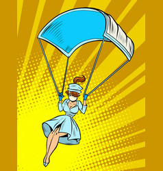 Super hero nurse goes down on a parachute like a vector
