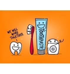 Teeth cartoons orange vector