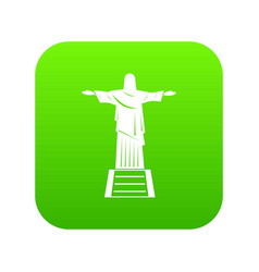 The christ the redeemer statue icon digital green vector