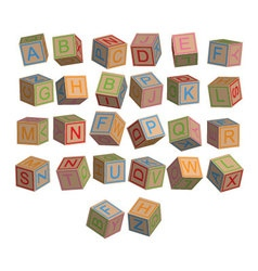 Toy blocks alphabet in 3D disordered vector