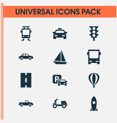Transport icons set collection of spaceship way vector