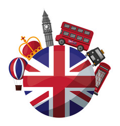 united kingdom flag big ben bus taxi crown and vector image