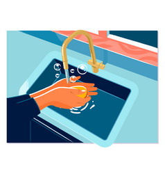 washing hands rubbing with soap woman for corona vector image