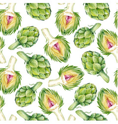 watercolor artichoke pattern vector image