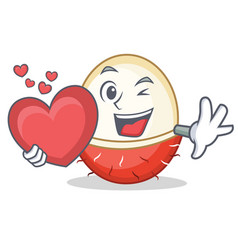 With heart rambutan mascot cartoon style vector