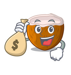 With money bag character coconut of pieces in vector