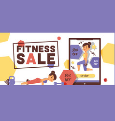 workout pattern fitness sportive girl character vector image