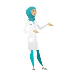 Young muslim happy doctor gesturing vector