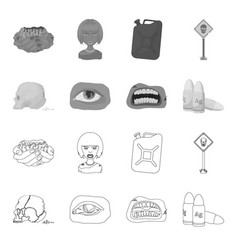 Zombies and attributes outlinemonochrome icons in vector