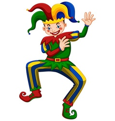 Jester with happy face dancing vector image vector image