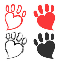 pet paw hearts design vector image