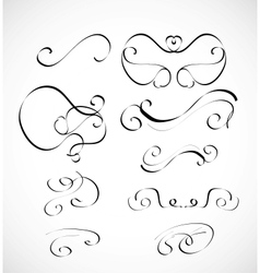 set of calligraphic design elements vector image