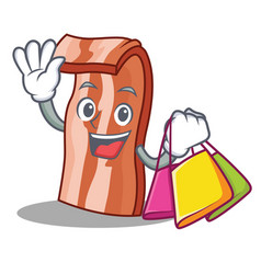 shopping bacon character cartoon style vector image vector image