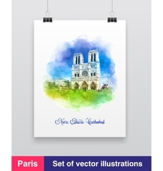 Watercolor of the Notre dame vector image