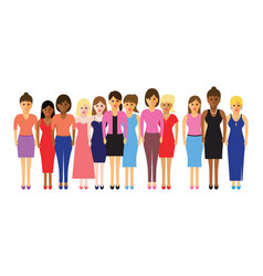 women in a line vector image vector image