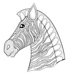 zentangle Zebra Head Horse vector image vector image