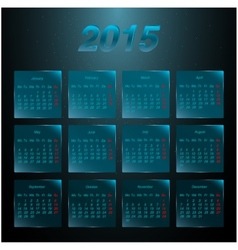 Calendar 2015 on the glass frosted panels vector image