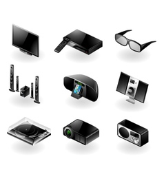 Electronics icon set - TV and audio vector image