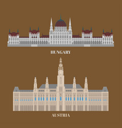 Hungary and austria travel icons country vector