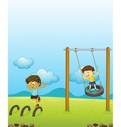 Kids playing swing vector image