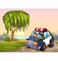 car and kids vector image
