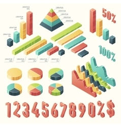 Set 3d infographic Template presentation Isometric vector image vector image