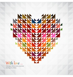 triangles heart background vector image vector image