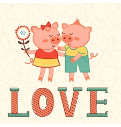 Valentines day card with two pigs in love vector image