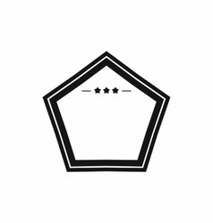 White badge with three stars icon simple style vector image
