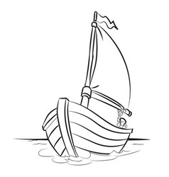 boat cartoon - line drawn vector image vector image