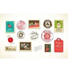 Christmas set of vintage postage stamps vector image