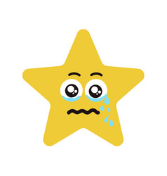 emotional face star cry vector image vector image