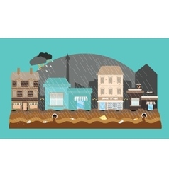 flooding flooded store shop mall street town vector image vector image