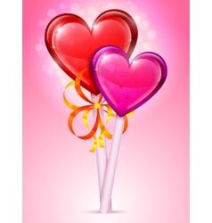 Heart lollipops vector image vector image