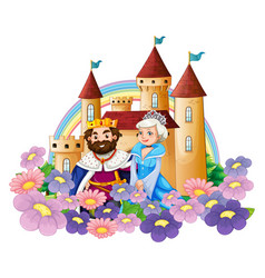 king and queen in flower garden at palace vector image