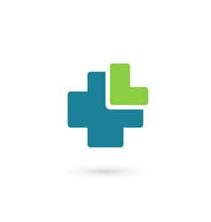 letter l cross plus medical logo icon design vector image vector image