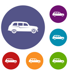 retro car icons set vector image vector image