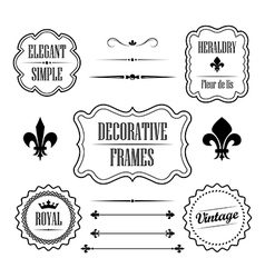 Set of decorative frames borders and dividers vector image