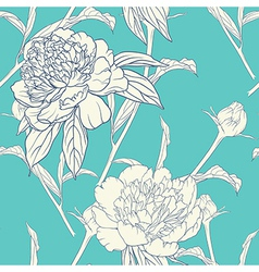 Vintage floral seamless pattern with peonies vector image vector image