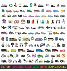 100 AND 20 Transport colored icons vector