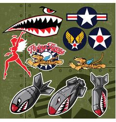 Airplane flight tiger stickers set vector