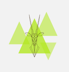 antelope oryx head geometric lines silhouette vector image