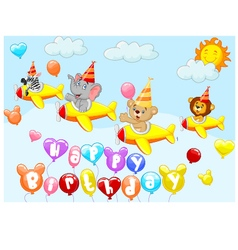 Birthday background with animal on plane vector image