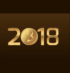 bitcoin cryptocurrency sign symbol 2018 new year vector image