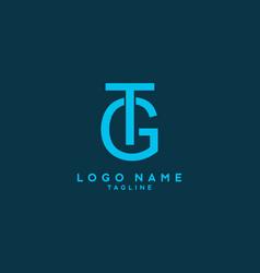 blue gt or tg initial letter logo vector image
