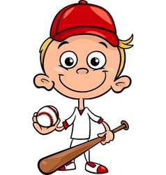 Boy baseball player cartoon vector