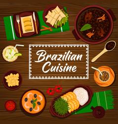 Brazilian cuisine cartoon poster brazil meals vector